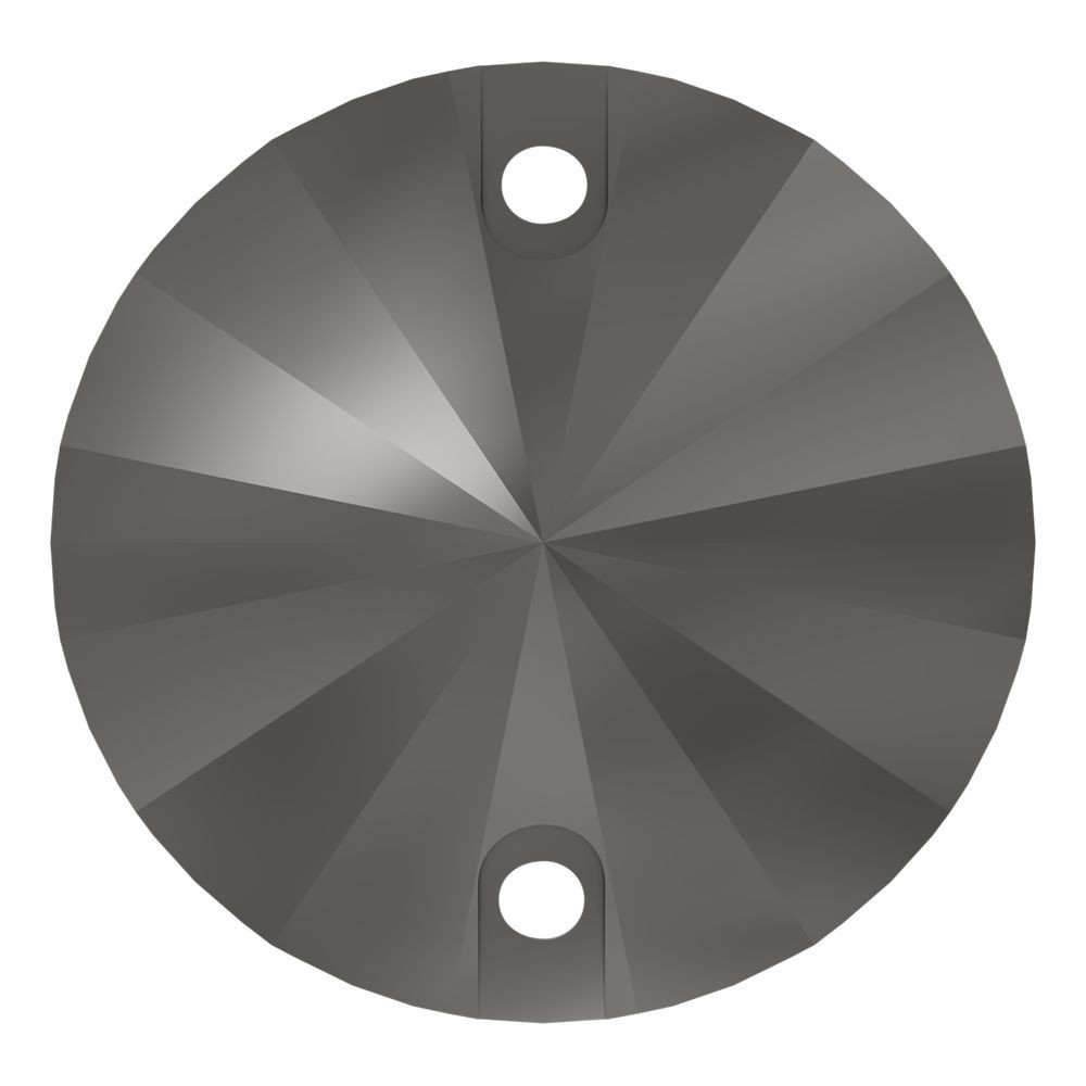 Rivoli sew-on stone flat 2 hole 18mm Jet Hematite