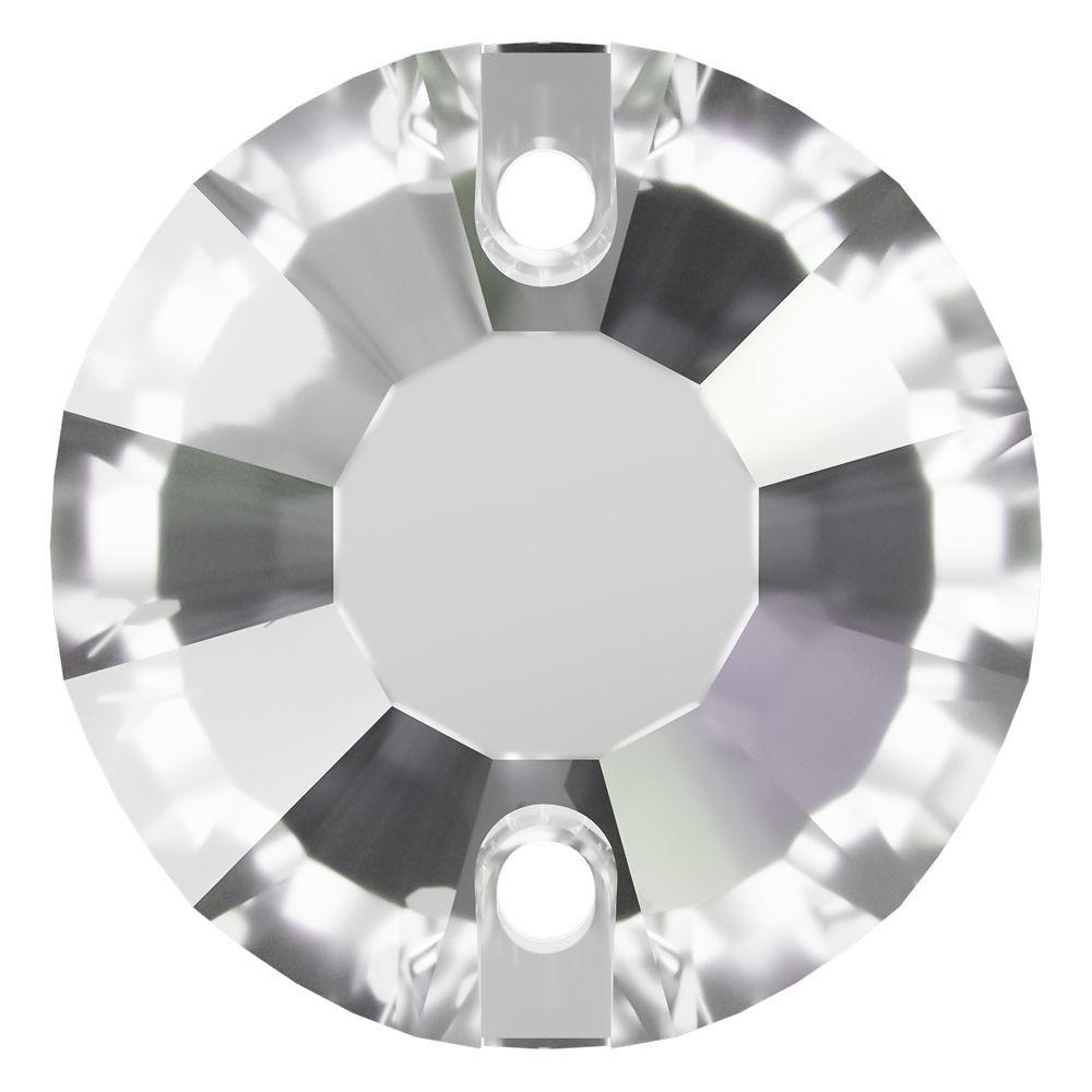 Rose sew-on stone flat 2 hole 12mm Crystal Transparent UF