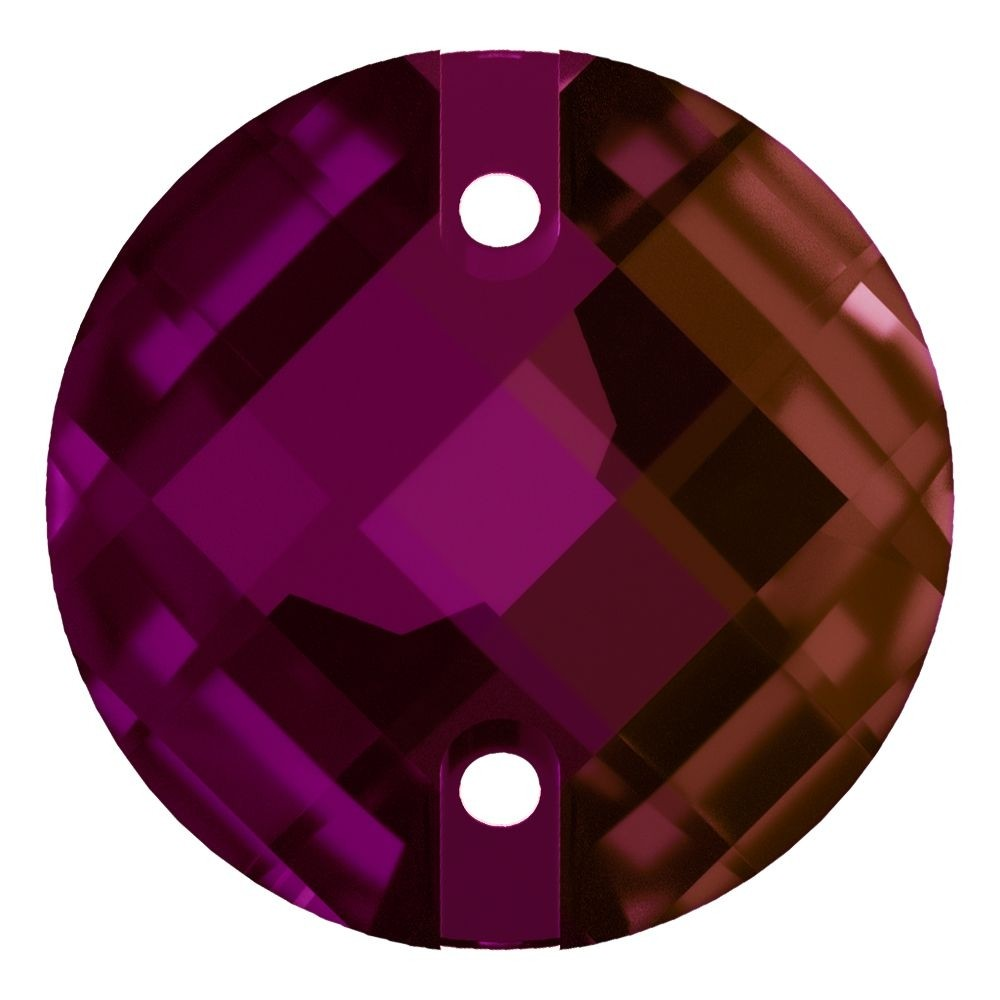 Chessboard sew-on stone flat 2 hole 12mm Fuchsia F