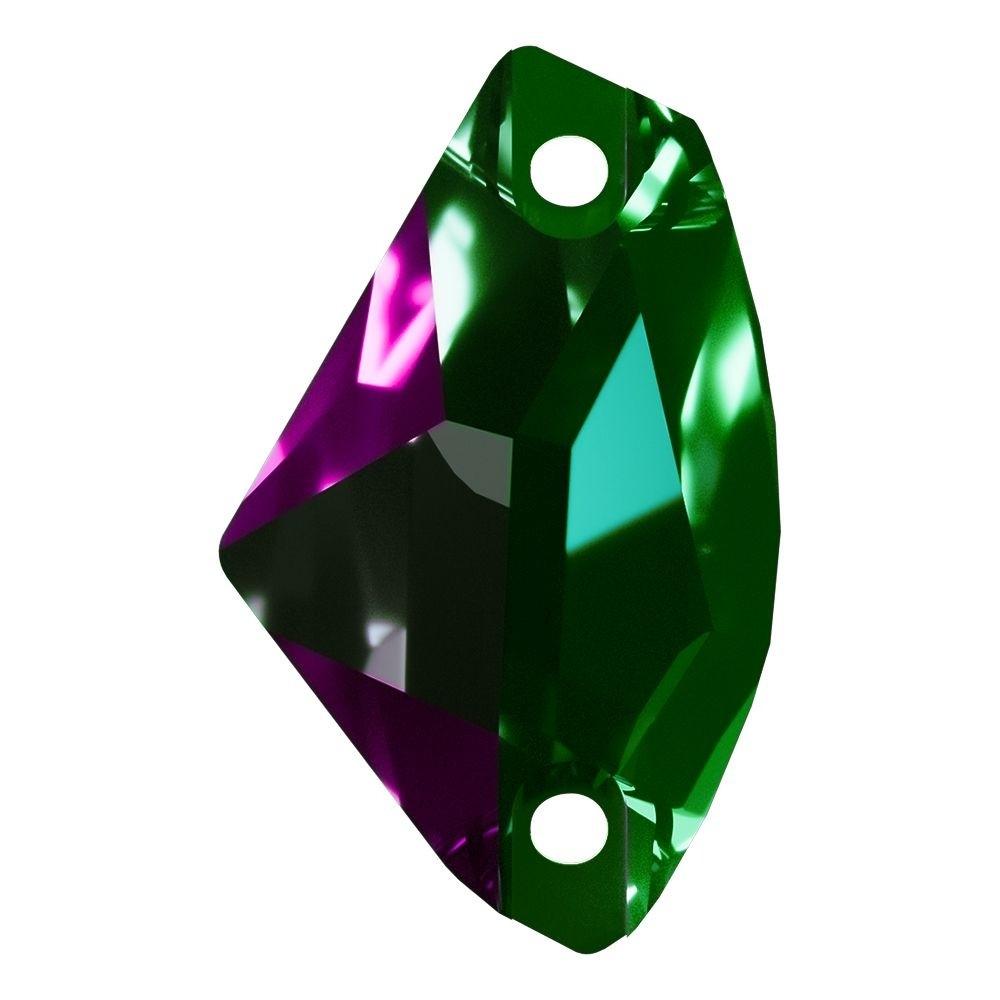 Galactic sew-on stone flat 2 hole 19x12mm Emerald F