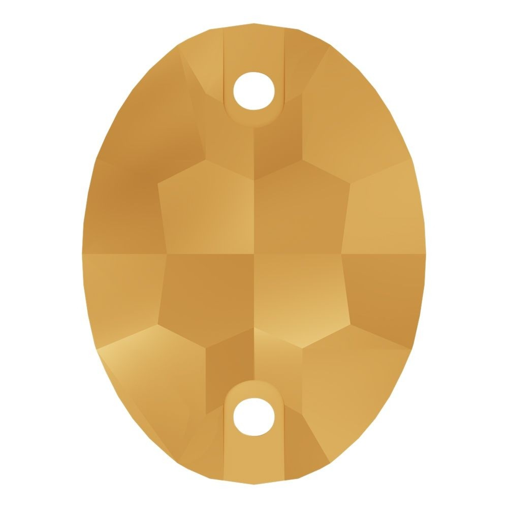 Oval sew-on stone flat 2 hole 16x11mm Crystal Aurum F