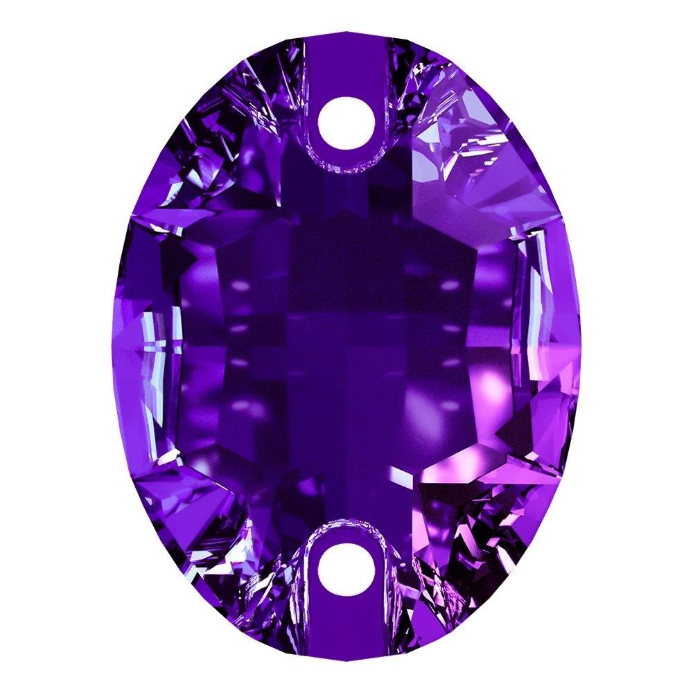 Oval sew-on stone flat 2 hole 24x17mm Purple Velvet F