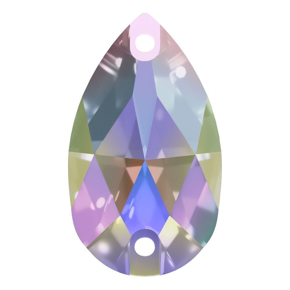 Pearshape sew-on stone flat 2 hole 25x16mm Crystal AB F