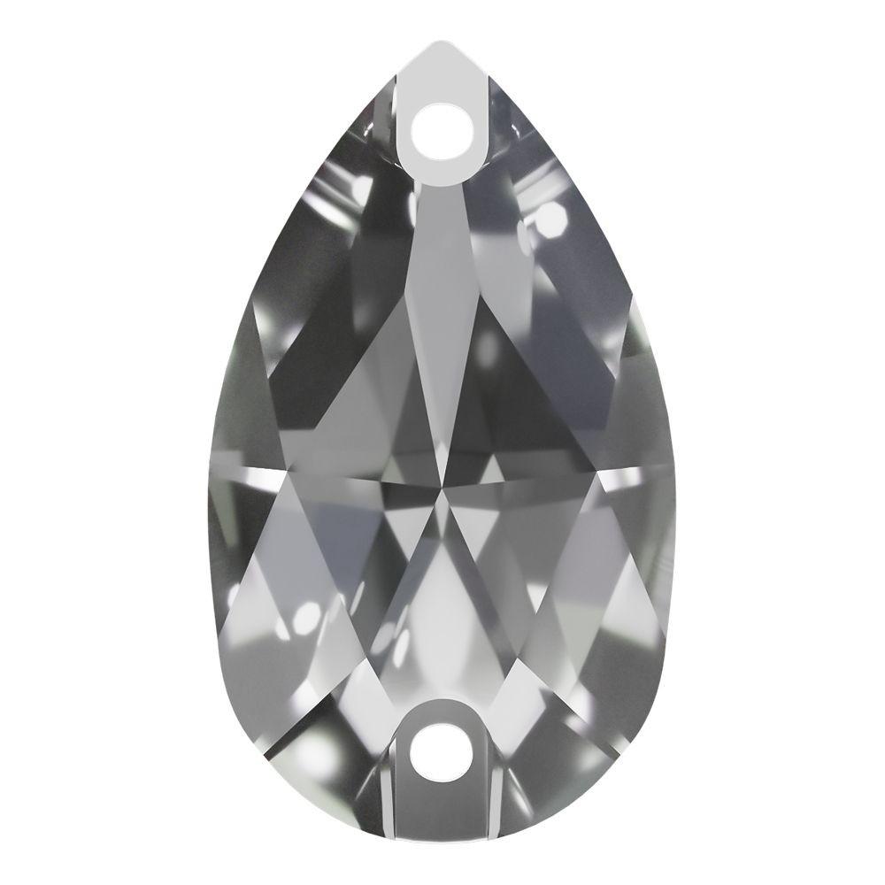 Pearshape sew-on stone flat 2 hole 18x11mm Crystal F