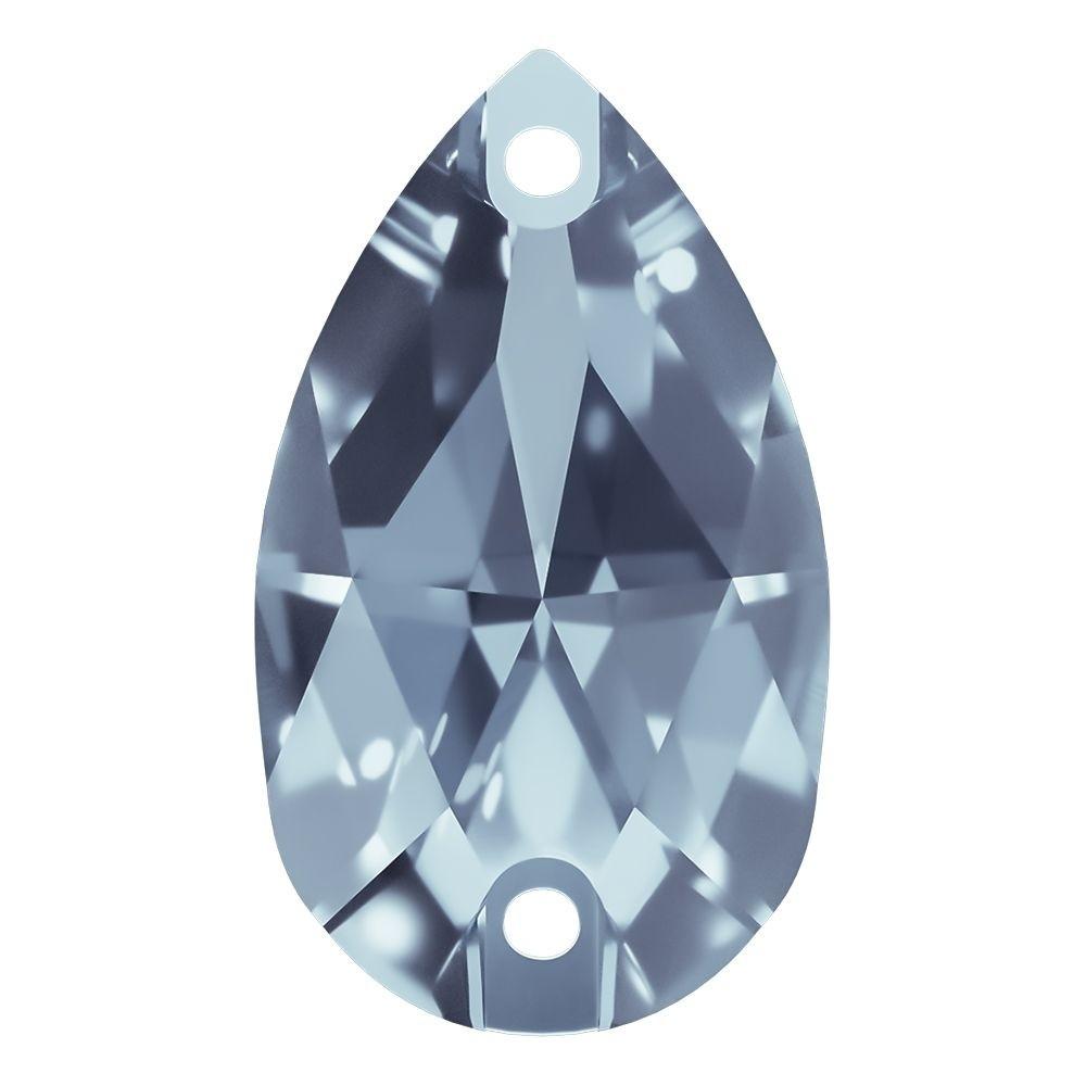 Pearshape sew-on stone flat 2 hole 28x17mm Light Sapphire F
