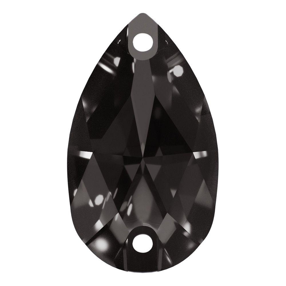 Pearshape sew-on stone flat 2 hole 28x17mm Black Diamond F