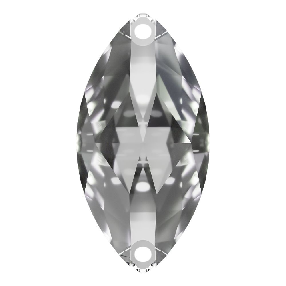 Navette sew-on stone flat 2 hole 12x6mm Crystal F