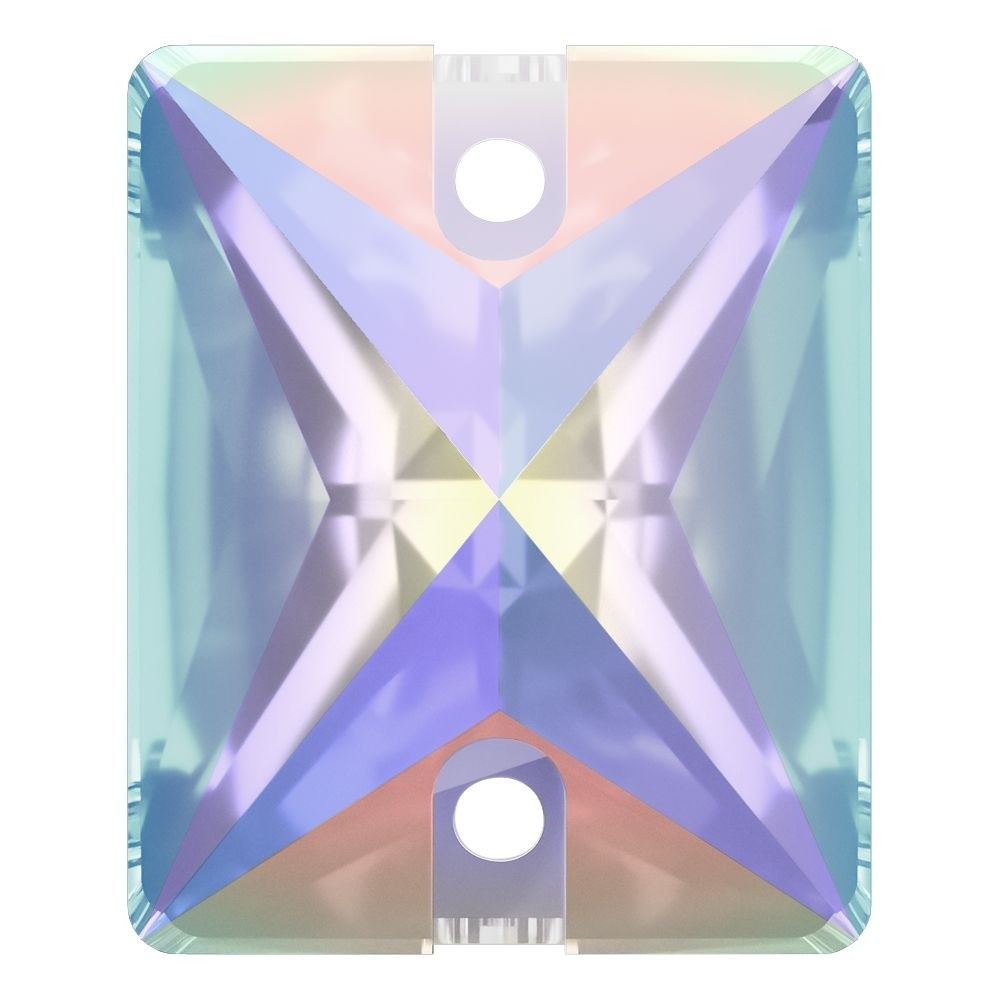 Baguette sew-on stone flat 2 hole 25x18mm Crystal AB F