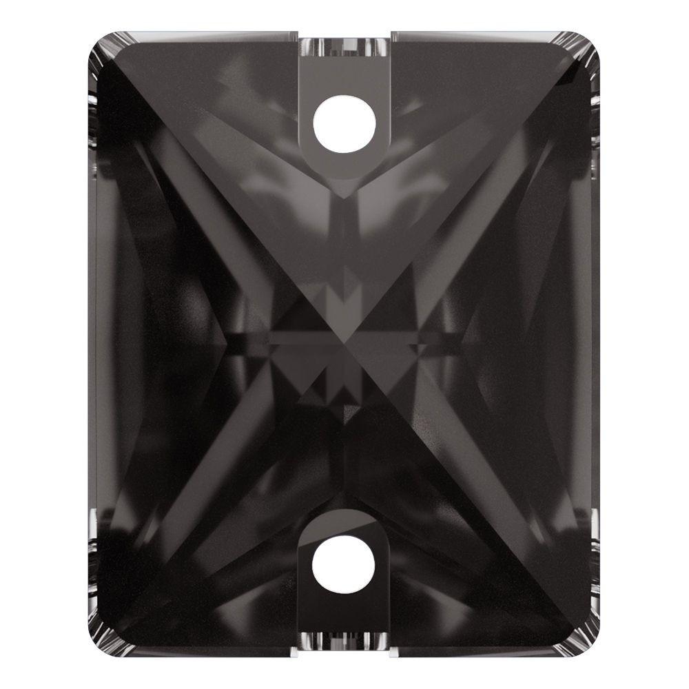 Baguette sew-on stone flat 2 hole 25x18mm Black Diamond F