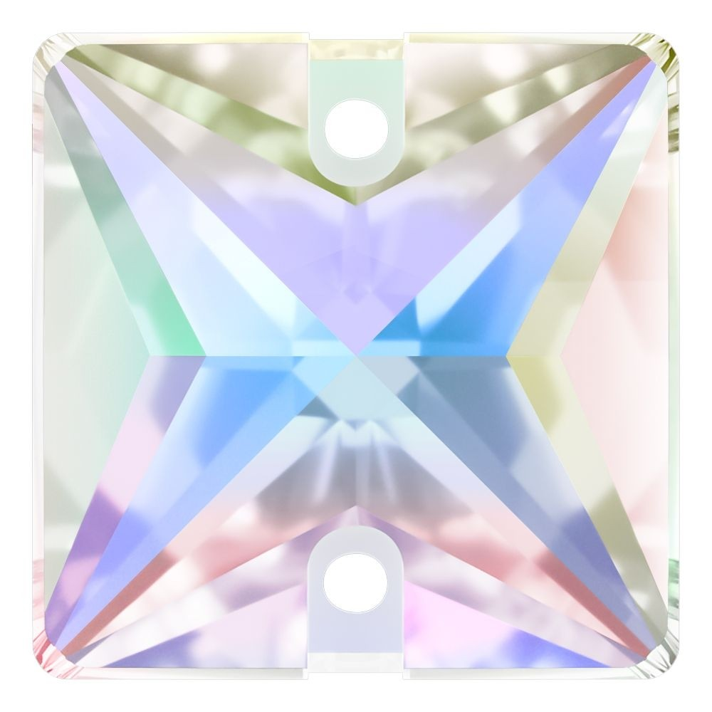 Square sew-on stone flat 2 hole 22mm Crystal AB F