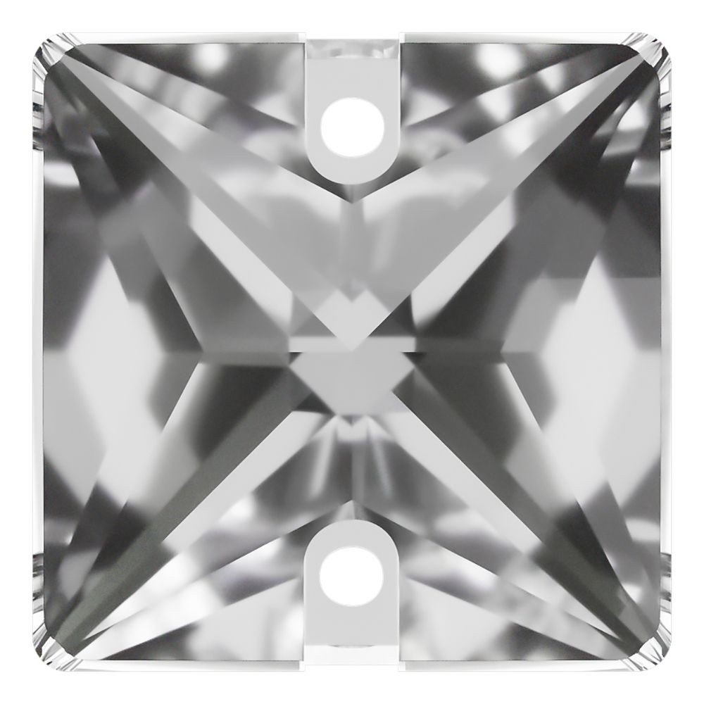 Square sew-on stone flat 2 hole 14mm Crystal F