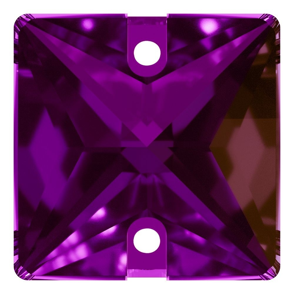 Square sew-on stone flat 2 hole 16mm Amethyst F