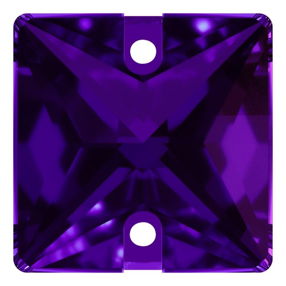 Square sew-on stone flat 2 hole 16mm Purple Velvet F