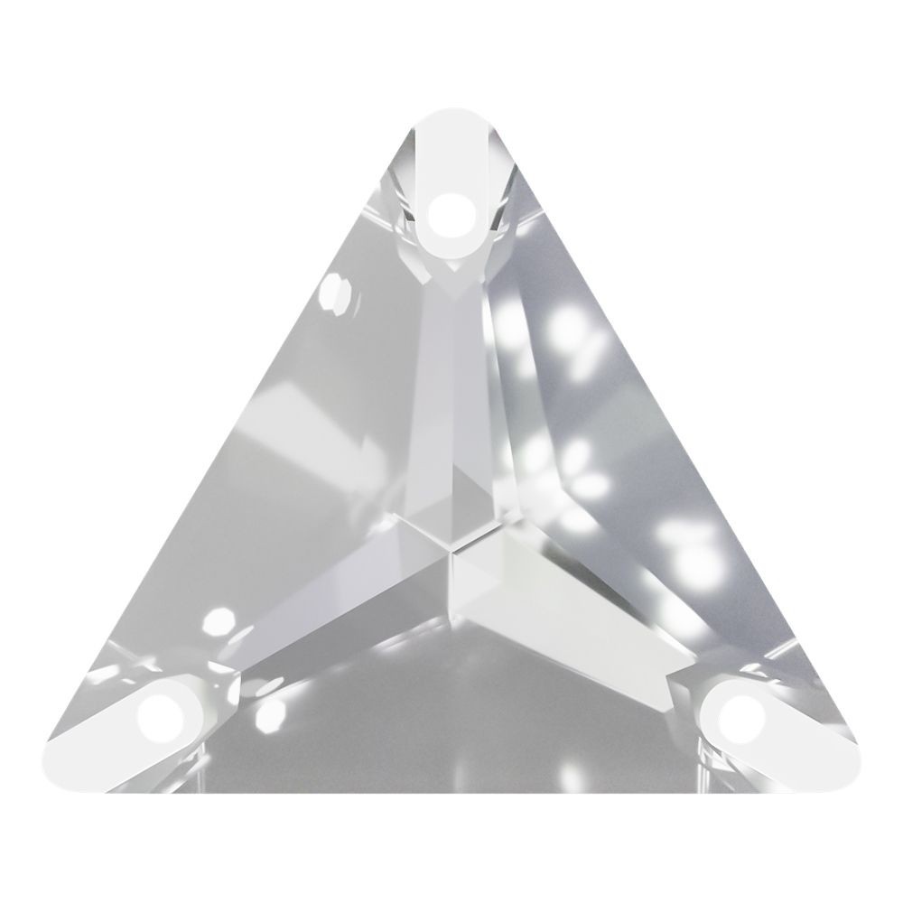 Triangle sew-on stone flat 3 hole 22mm Crystal F