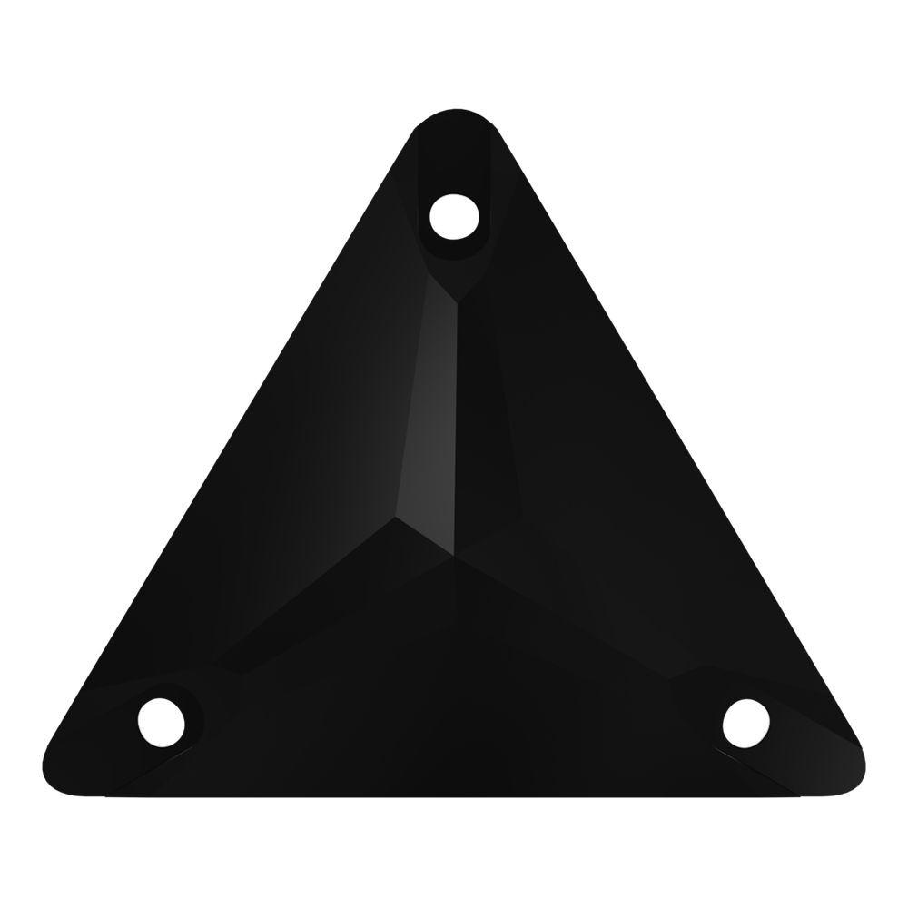 Triangle sew-on stone flat 3 hole 22mm Jet