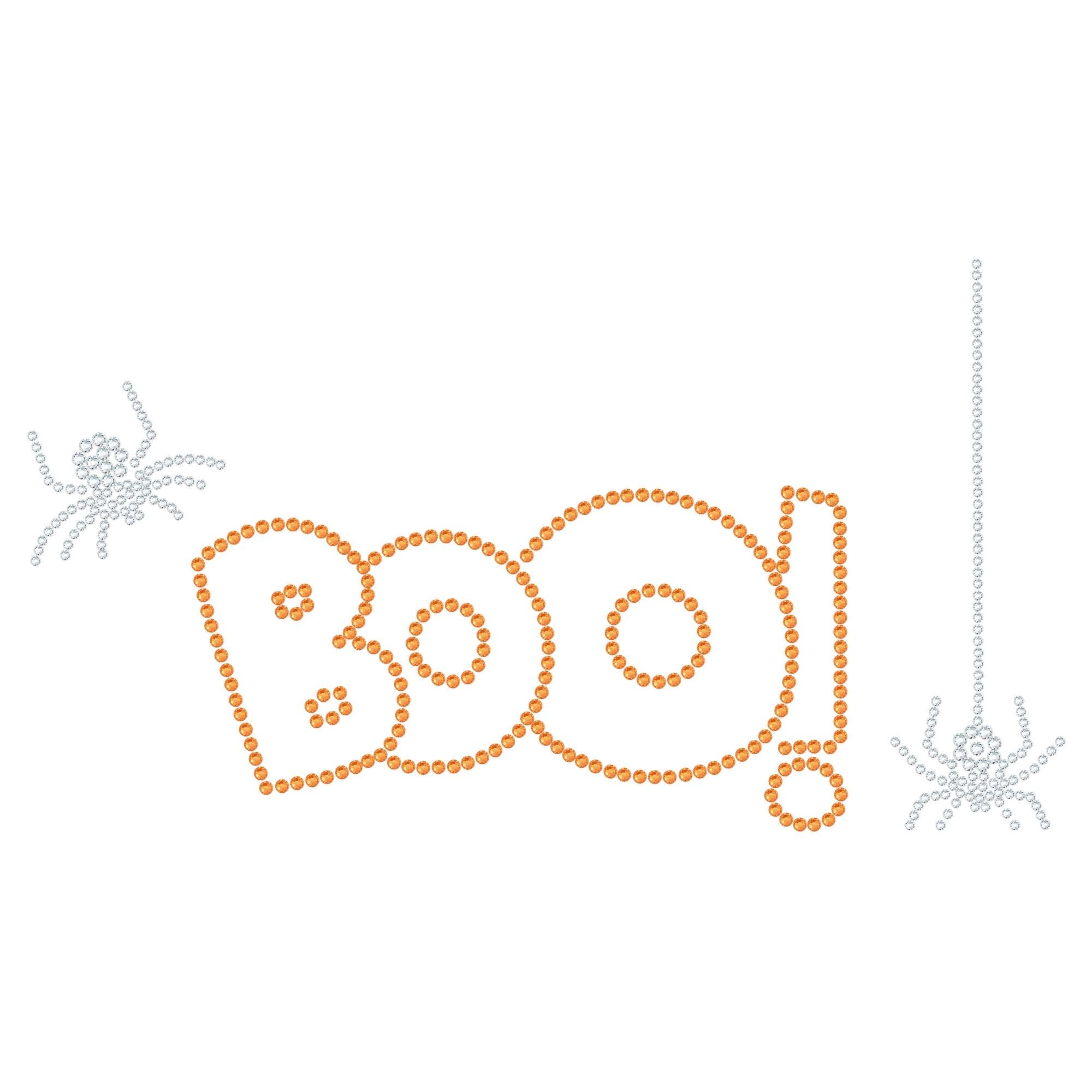 "Halloween Hotfix Rhinestone Transfer ""Boo"" 226x124mm"