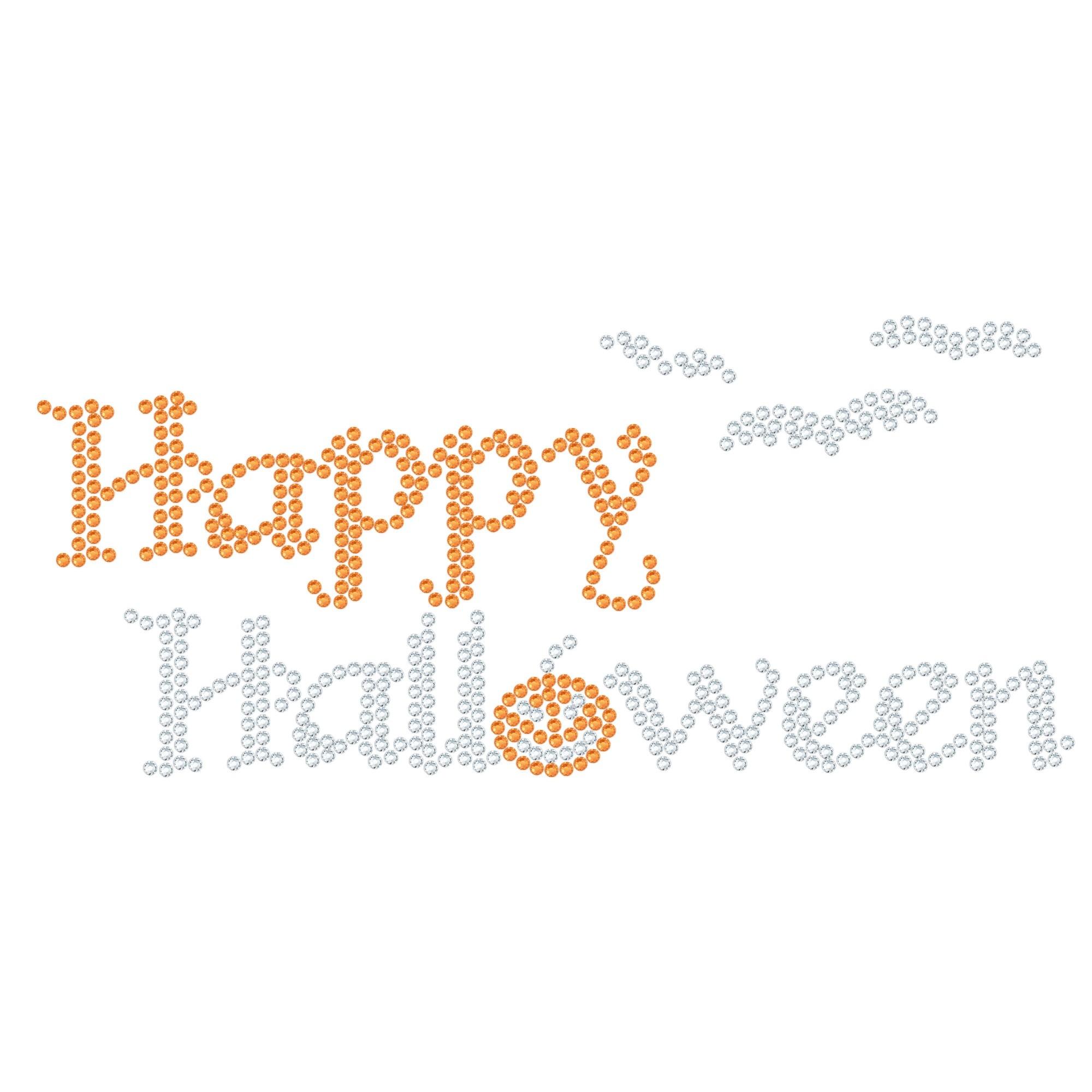 "Halloween Hotfix Rhinestone Transfer ""Happy Halloween"" 160x71mm"