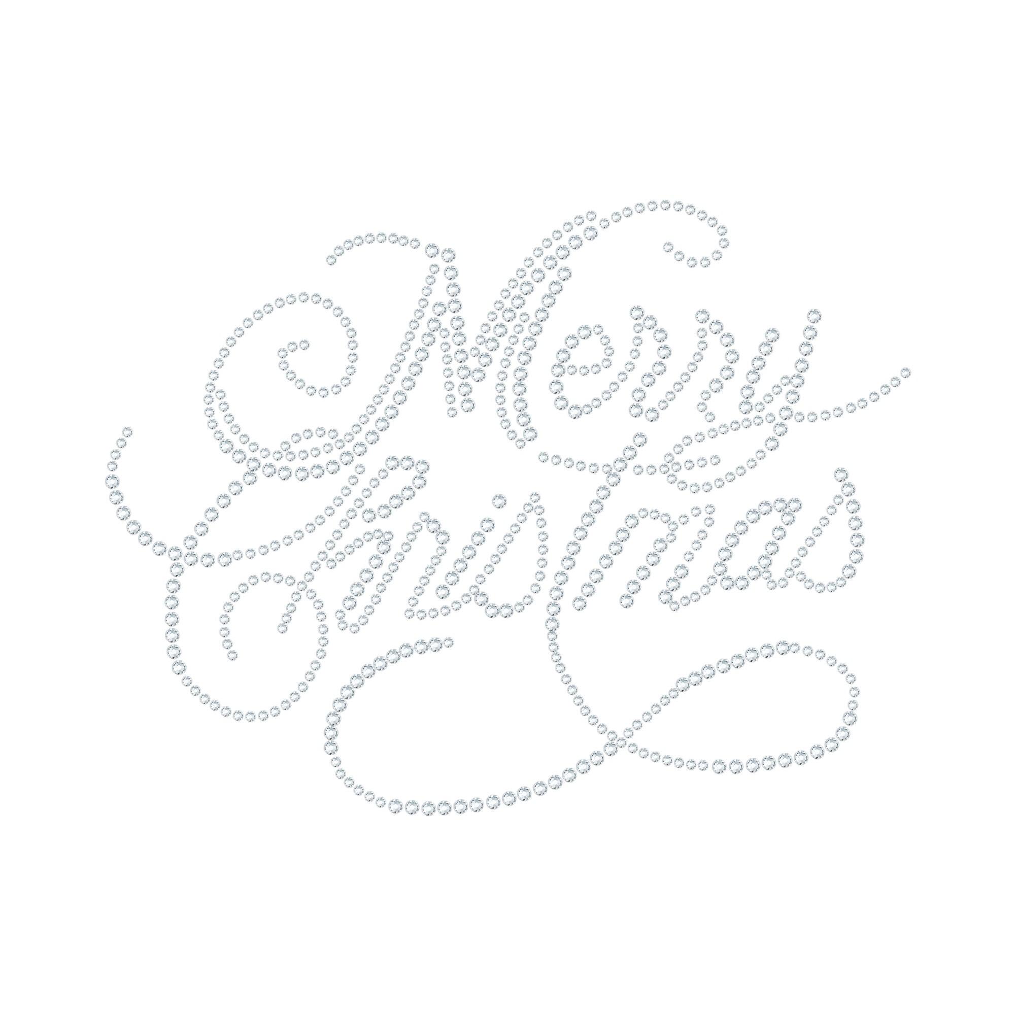 "Hotfix Rhinestone Transfer ""Merry Christmas"" 177x135mm"